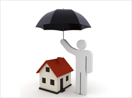 Image of a character holding an umbrella over the roof of a model of a home