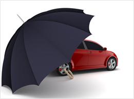 Image of an umbrella covering a car