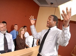 Image of an Attorney addressing a jury